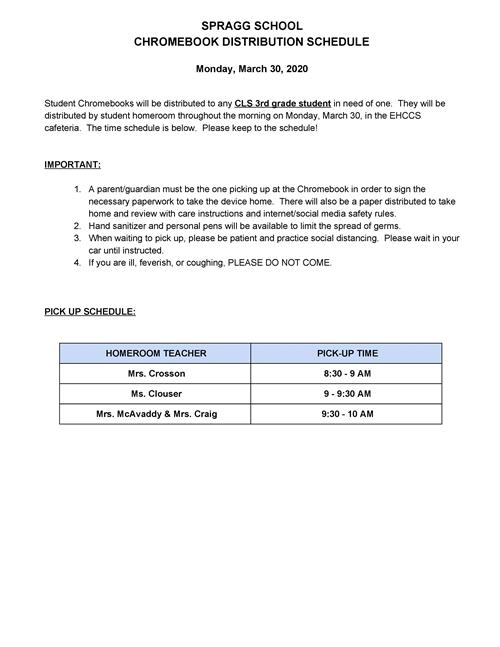Spragg Chromebook Distribution Schedule