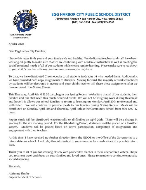 Spring Break Letter To Families